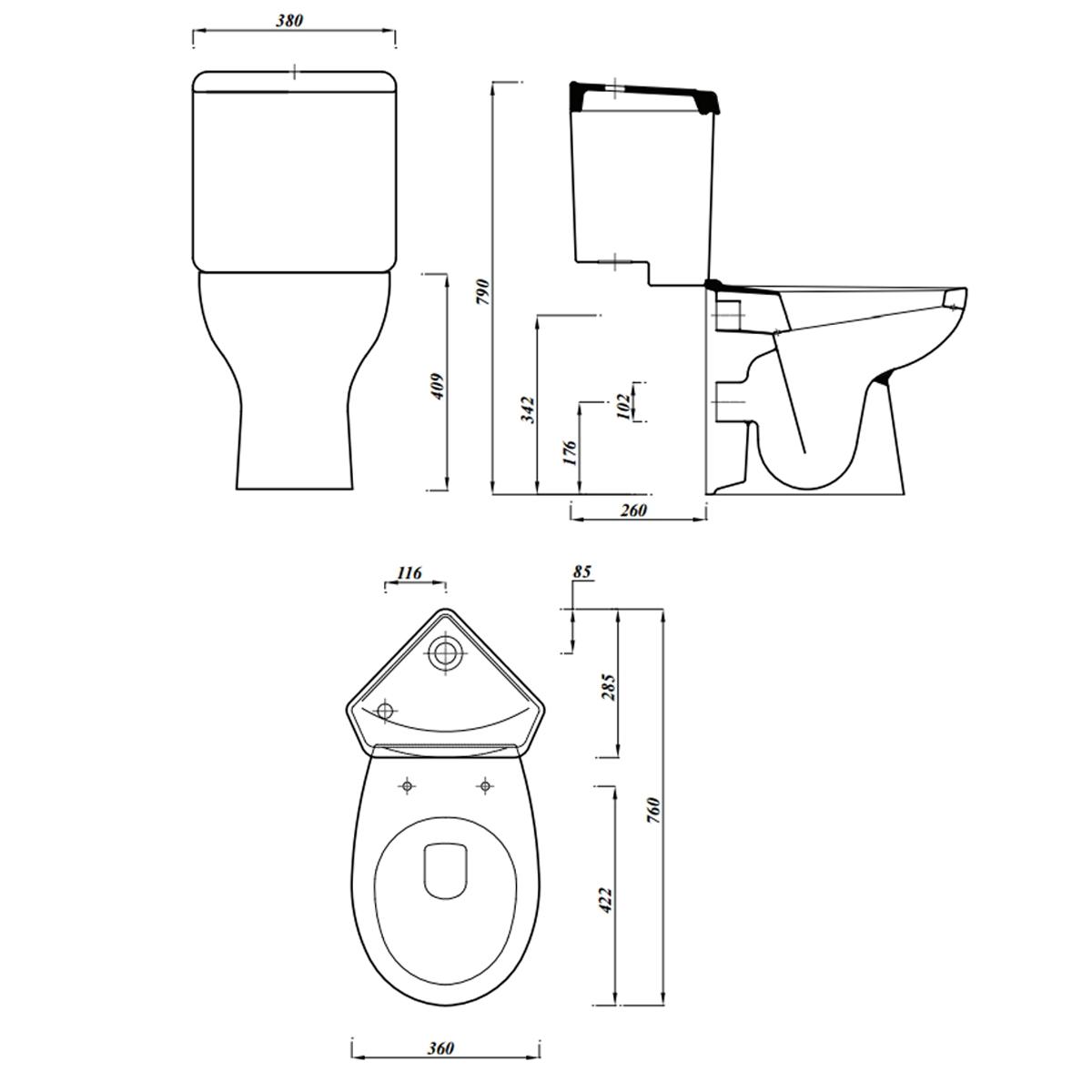 Last 1 In stock. Lecico Laguna Close Coupled Corner Toilet with Soft Close Seat
