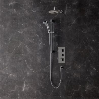 Bordo Thermostatic Triple Concealed Shower Valve with Round Shower System