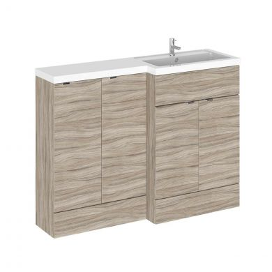 Hudson Reed Fusion Combination Furniture & Basin Driftwood 1205mm Right Hand Option B