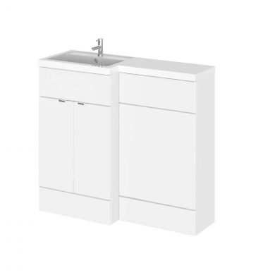 Hudson Reed Fusion Combination Furniture & Basin White Gloss 1005mm Left Hand