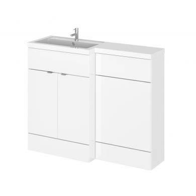 Hudson Reed Fusion Combination Furniture & Basin White Gloss 1105mm Left Hand