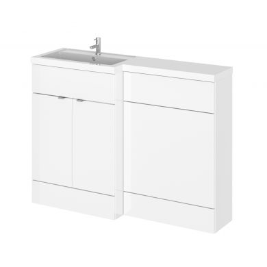 Hudson Reed Fusion Combination Furniture & Basin White Gloss 1205mm Left Hand Option A