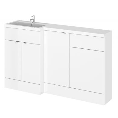 Hudson Reed Fusion Combination Furniture & Basin White Gloss 1505mm Left Hand Option A