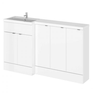 Hudson Reed Fusion Combination Furniture & Basin White Gloss 1505mm Left Hand Option C