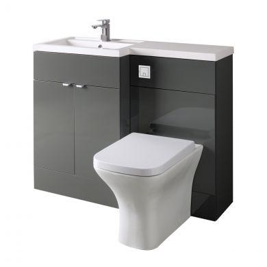 Hudson Reed Fusion Combination Furniture & Basin Grey Gloss 1105mm Left Hand