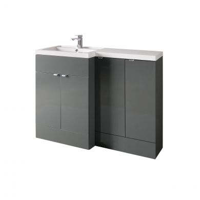 Hudson Reed Fusion Combination Furniture & Basin Grey Gloss 1205mm Left Hand Option B