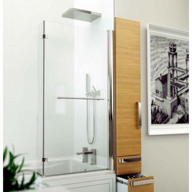 Kudos Inspire 5mm L Shaped Bath Screen 1500 x 810mm with Towel Rail