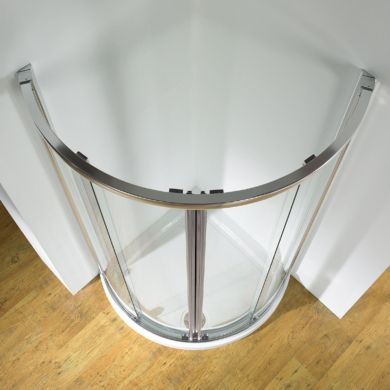 Kudos Original Curved Sliding Shower Enclosure Centre Access 910 x 910mm with Concept 2 Shower Tray
