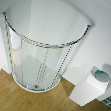 Kudos Original Offset Curved Sliding Shower Enclosure Centre Access 1000 x 810mm with Concept 2 Shower Tray Left Hand