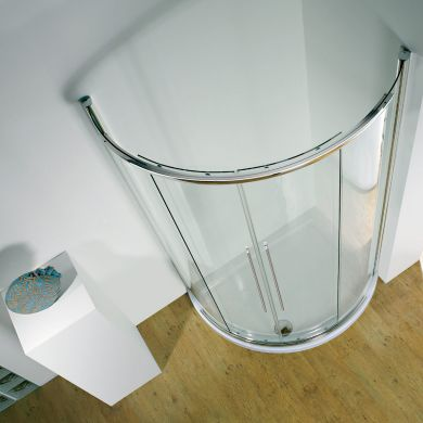 Kudos Original Offset Curved Sliding Shower Enclosure Centre Access 1000 x 810mm with Concept 2 Shower Tray Right Hand
