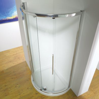 Kudos Original Offset Curved Sliding Shower Enclosure 1200 x 910mm with Concept 2 Shower Tray Left Hand