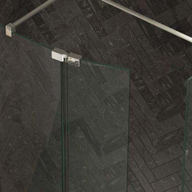 Kudos 8mm Ultimate 2 Wet Room Glass Curved Deflector Panel Left Hand 300mm