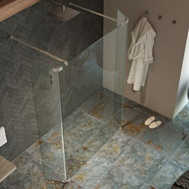 Kudos 8mm Ultimate 2 Wet Room Glass Hinged Deflector Panel Left Hand 400mm