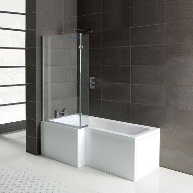 Leda L Shape Reinforced Shower Bath 1500 x 850 with Panel & Screen Left Hand
