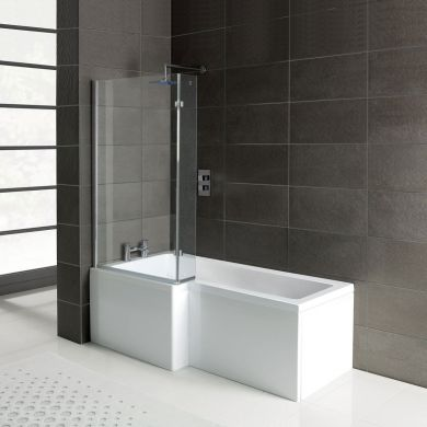 Leda L Shape Shower Bath 1500 x 850 with Panel & Screen Left Hand