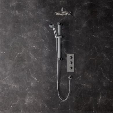 Rondo Thermostatic Triple Concealed Shower Valve System with Fixed Shower Head