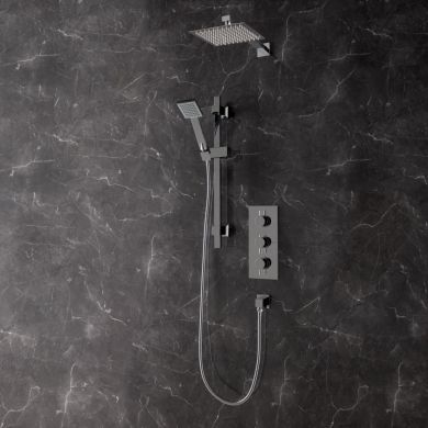 Rondo Thermostatic Triple Concealed Shower Valve with Square Shower System
