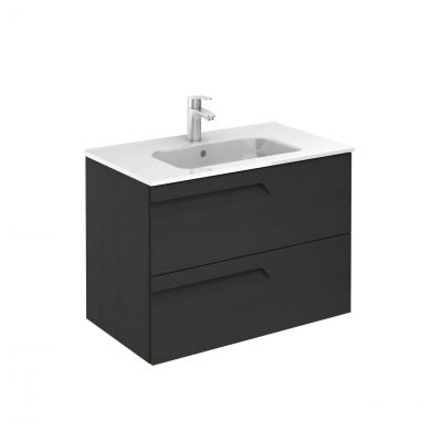 Royo Vitale 2 Drawer Wall Hung Vanity Unit & Basin Grey Nature 810mm