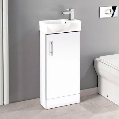 Sonata Single Door Vanity Unit & Basin White 400mm