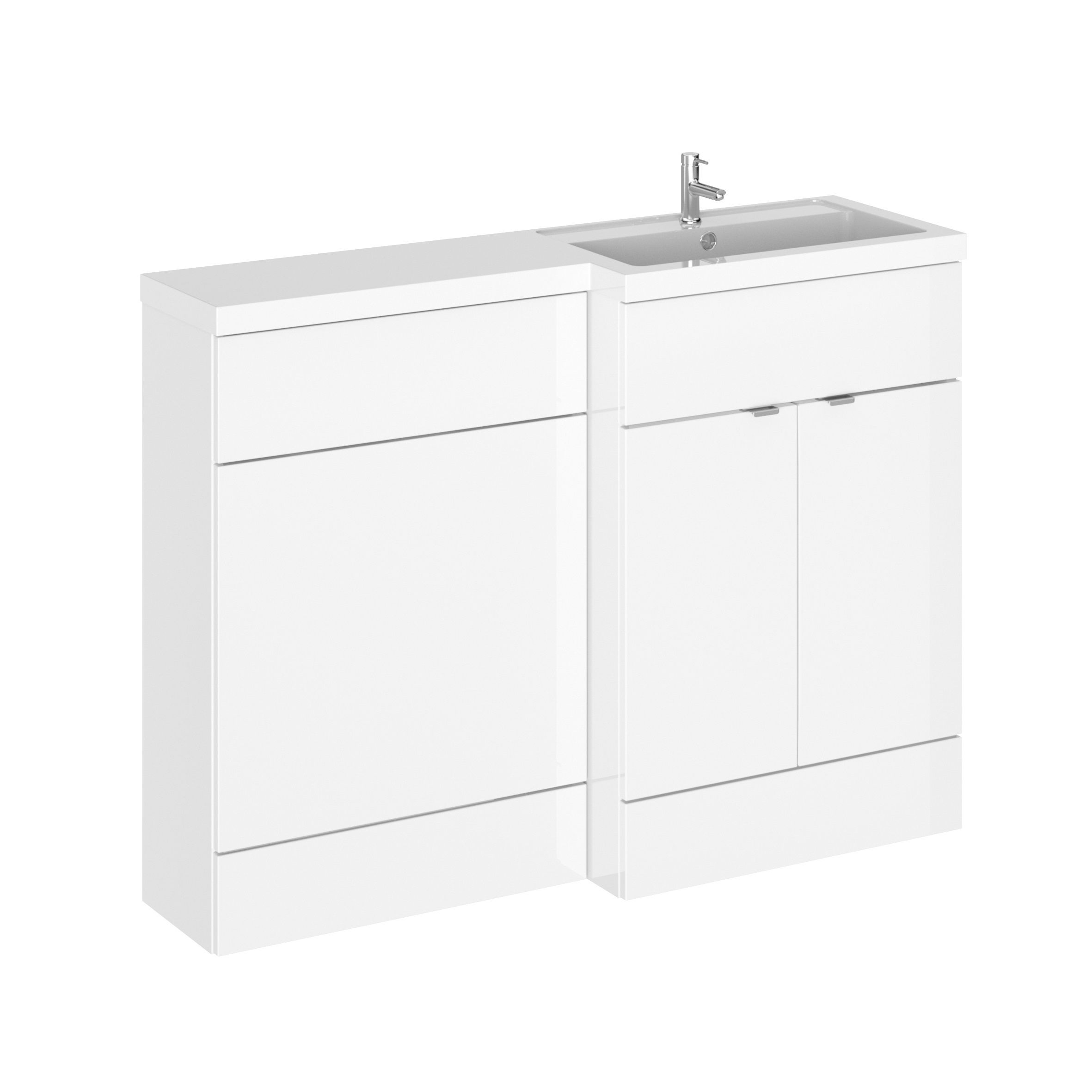 Hudson Reed Fusion Combination Furniture Basin White Gloss 1205mm Right Hand Option A