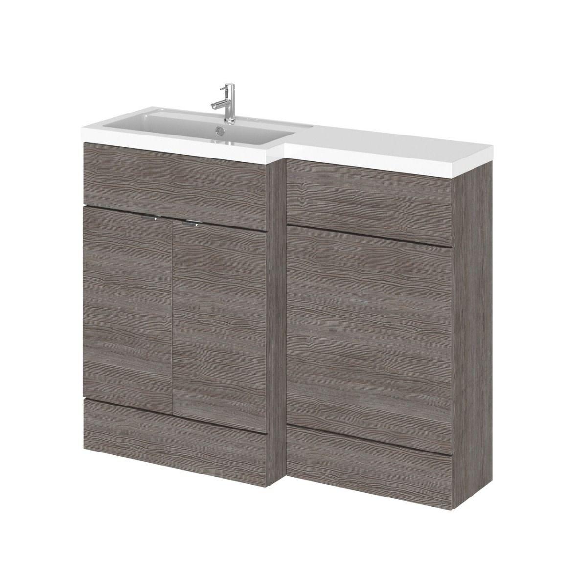 Hudson Reed Fusion Combination Furniture Basin Grey Avola 1105mm Left Hand