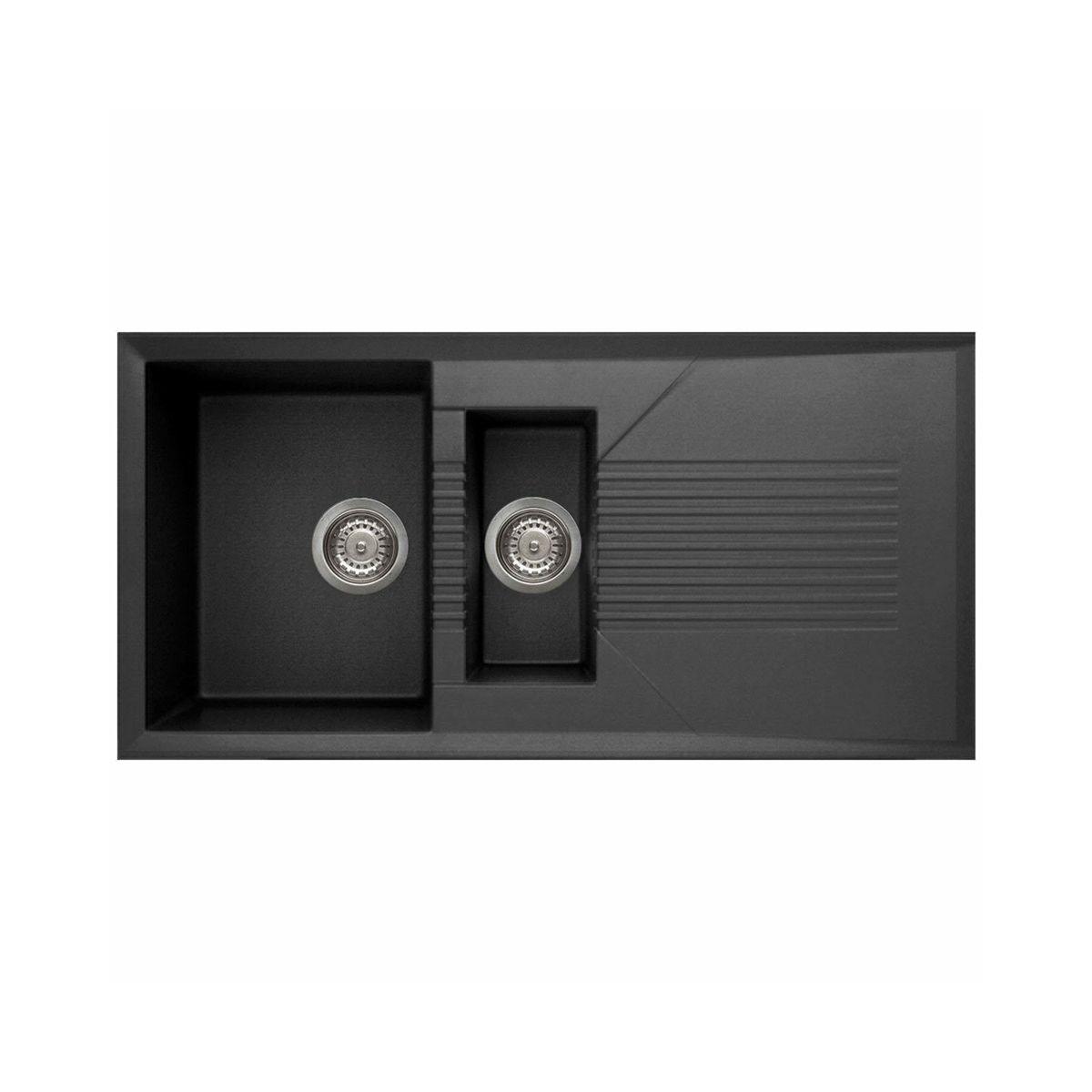 reginox tekno 1 5 bowl granite kitchen sink black 1000 x 500mm