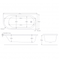 Air Spa & Whirlpool Bath 1695 x 745 Right Hand with Bath Waste Dimensions