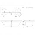 Trojancast Reinforced Curved D Shape Bath 1700 x 800mm with Panel Dimensions 1
