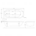 Trojancast J Shape Reinforced Bath 1695 x 745mm with Panel Left Hand Dimensions 1