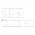 Trojan J Shape Bath 1700 x 750 Right Hand Dimensions