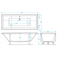 Trojan Elite Double Ended 26 Jet Heated Air Spa Whirlpool Bath 1800 x 800 with LED Light & Bath Waste Dimensions