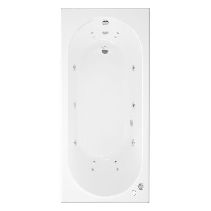 Trojan Cascade Single Ended 14 Jet Whirlpool Bath 1700 x 800 with LED Light & Bath Waste