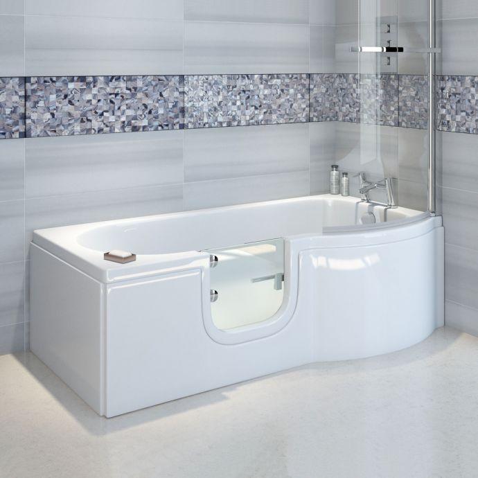 Bathe Easy Concert P Shape Walk In Shower Bath 1675 x 750 Left Hand