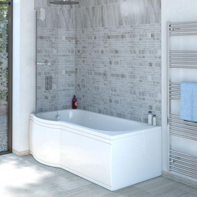 Trojancast Concert Reinforced P Shape Shower Bath 1700 x 850 with Panel & Screen Left Hand