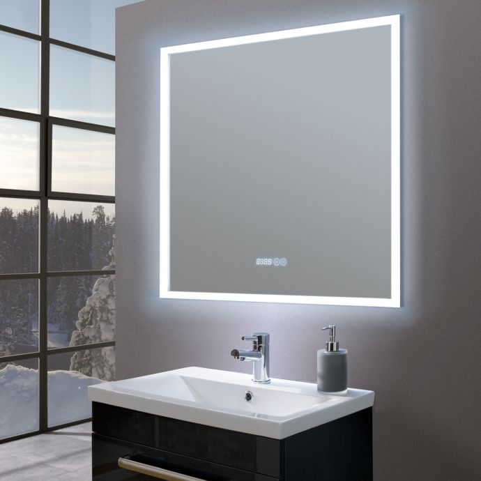Amour Ultra Slim Square LED Illuminated Mirror with Digital Clock 730 x 730