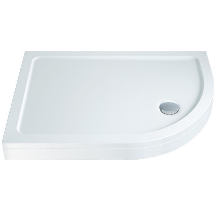 Elements Slimline Offset Quadrant Shower Tray with Riser Kit 1200 x 760 Right Hand