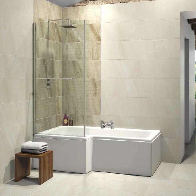 Trojancast Elite Reinforced L Shape Shower Bath 1675 x 850 with Panel & Screen Left Hand