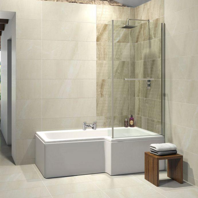 Trojancast Elite Reinforced L Shape Shower Bath 1675 x 850 with Panel & Screen Right Hand