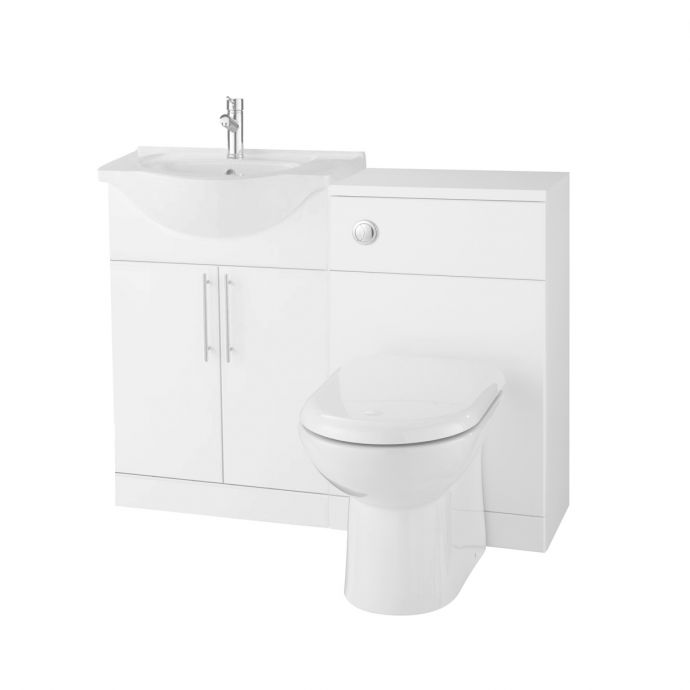 Glacier Vanity Unit & Basin 550 with Back To Wall Toilet Unit 500 White