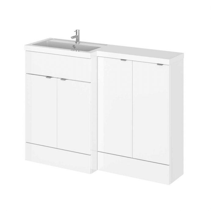 Hudson Reed Fusion Combination Furniture & Basin White Gloss 1205mm Left Hand Option B