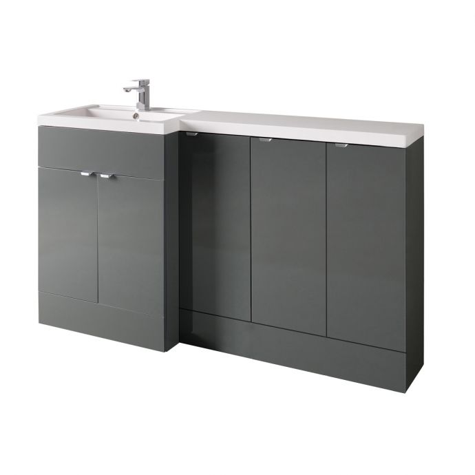 Hudson Reed Fusion Combination Furniture & Basin Grey Gloss 1505mm Left Hand Option C