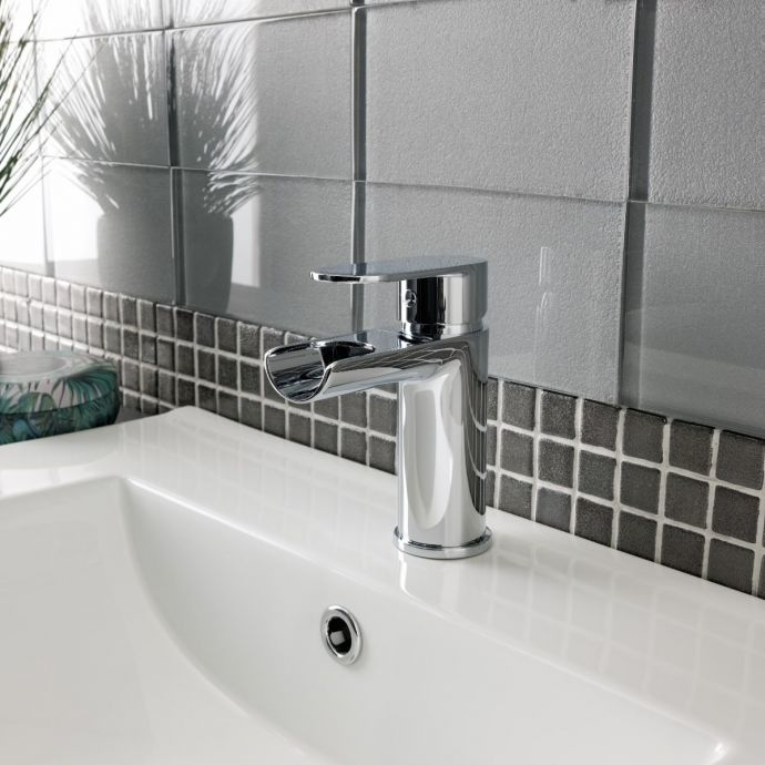 Indus Open Spout Waterfall Basin Mixer with Click Waste