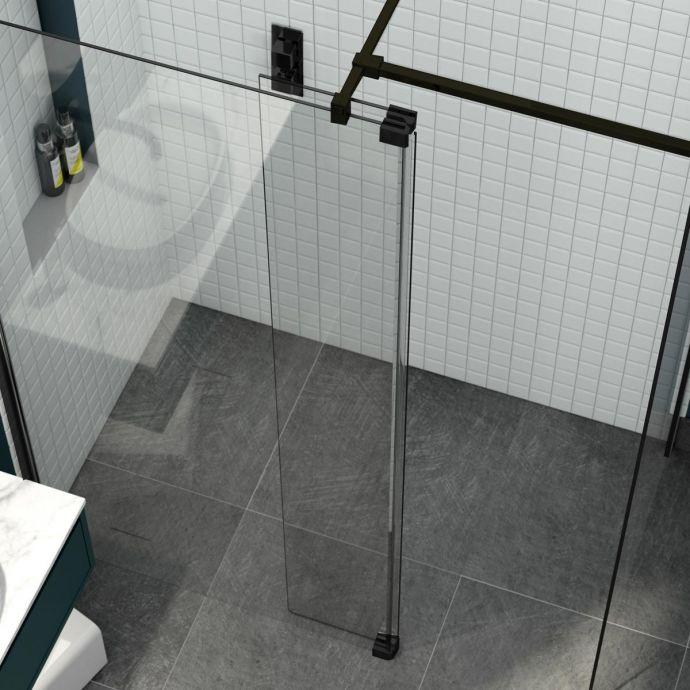 Kudos 8mm Ultimate 2 Wet Room Glass Fold Away Deflector Panel Black Left Hand 300mm