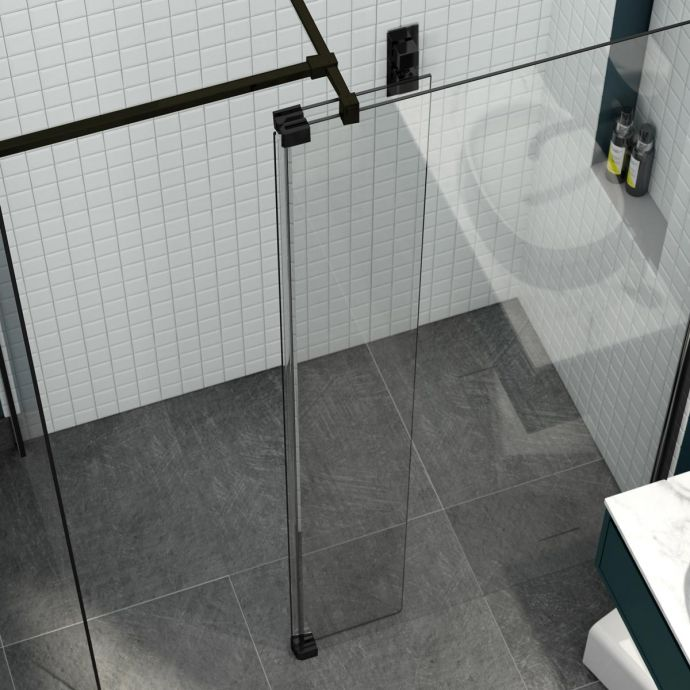 Kudos 8mm Ultimate 2 Wet Room Glass Fold Away Deflector Panel Black Right Hand 300mm