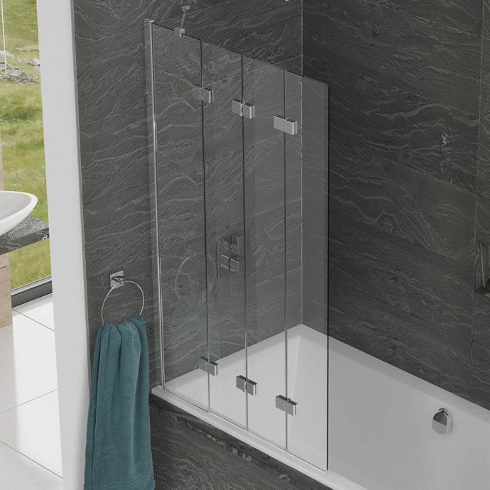 Kudos Inspire 6mm Four Panel In Fold Compact Bath Screen Left Hand