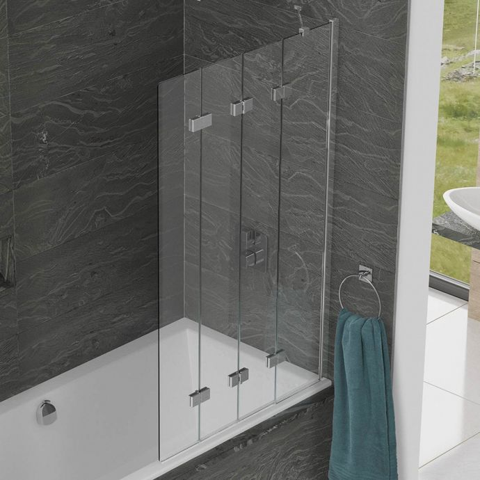 Kudos Inspire 6mm Four Panel In Fold Compact Bath Screen Right Hand