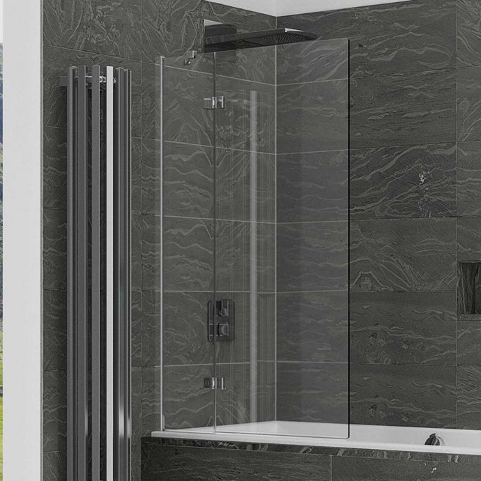 Kudos Inspire 8mm Two Panel Out Swing Bath Screen Left Hand