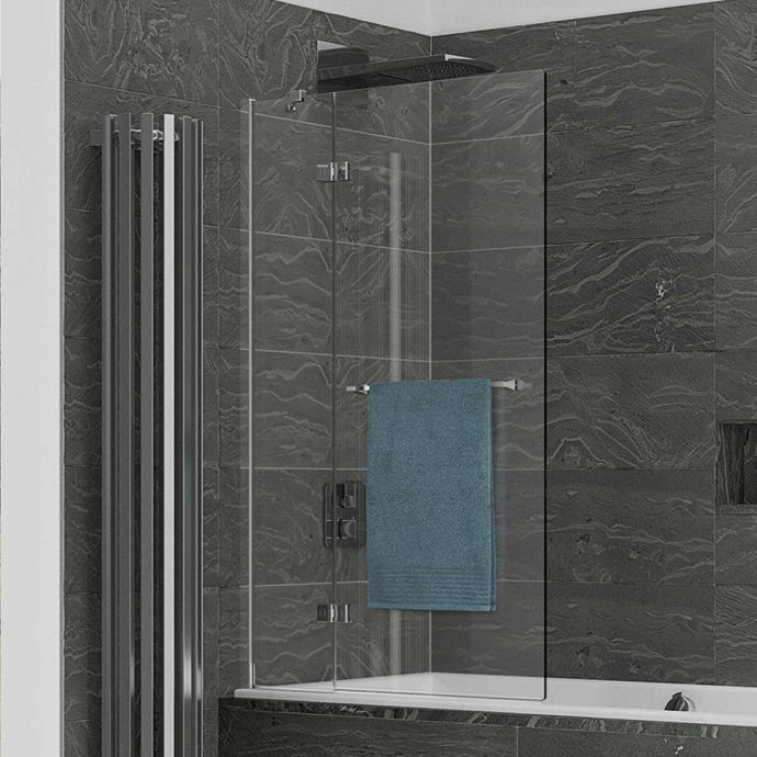 Kudos Inspire 8mm Two Panel In Swing Bath Screen Left Hand with Towel Rail