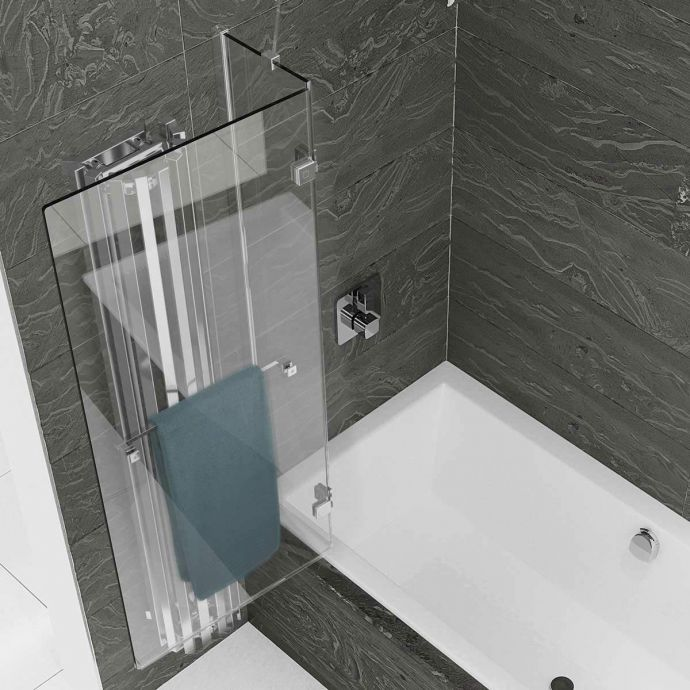 Kudos Inspire 8mm Two Panel Out Swing Bath Screen with Towel Rail Left Hand