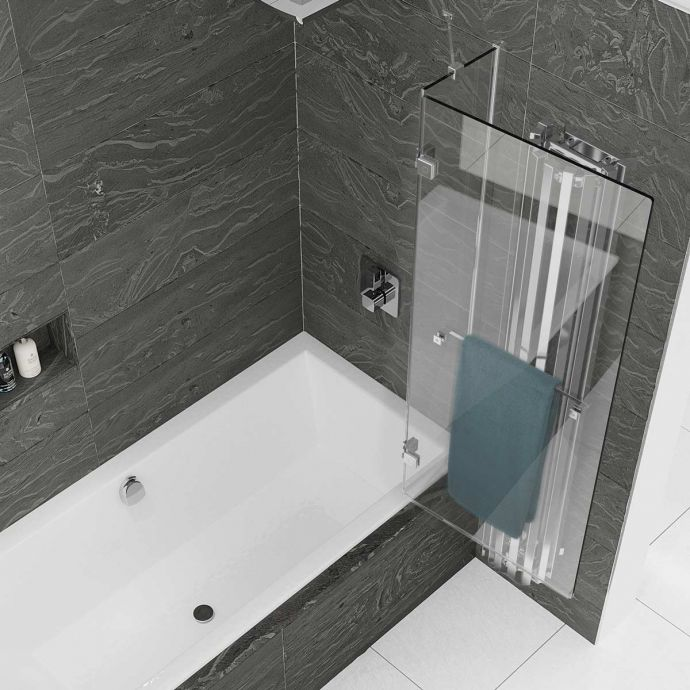 Kudos Inspire 8mm Two Panel Out Swing Bath Screen with Towel Rail Right Hand